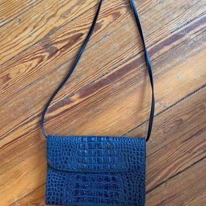 Blue embossed leather handbag
